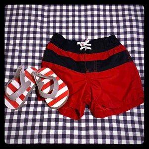 Boys Baby gap swim trunks and flip flops